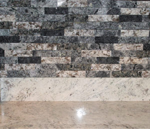 Southern Gray Granite with NVRG backsplash - backsplash detail 2