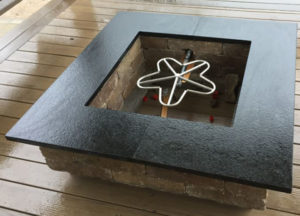 Absolute Black Suede Finish Fire Pit Closeup