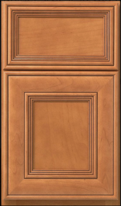 Claybourne — Full overlay in maple with butterscotch finish and mocha glaze.