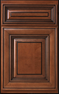 Andale Door Profile — Shown as full overlay in maple with cafe finish and chocolate glaze.