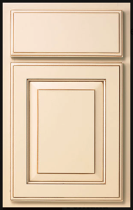 Arlington Door Profile — Shown as standard overlay in maple with biscuit finish and chocolate glaze.
