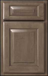 Benton Door Profile — Base cabinet shown as standard overlay in maple with stone finish.