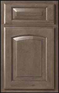 Benton with Brow Option Door Profile — Wall cabinet is available with square option. Shown as standard overlay in maple with stone finish.
