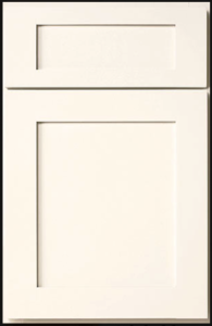 Mission Door Profile — Shown as full overlay in maple with white finish.