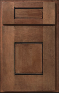 Sterling Door Profile — Shown as standard overlay in maple with Salem Maple finish and chocolate glaze.