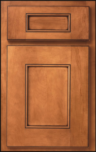 Wisdom Door Profile — Shown as a standard overlay in maple with pecan finish and plantation glaze.