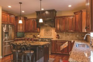 Advantage Cabinetry - Easton Door Profile. Maple with Café Finish and Chocolate Glaze.