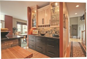 Advantage Cabinetry - Mission Door Profile. Maple with Natural Finish upper cabinets, Cherry with Espresso Finish base cabinets.