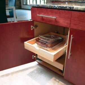 Roll-out trays make accessing the items in the back of your cabinets easier and create more usable space.