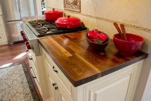 John Boos Kitchen Countertop with Cream Cabinets