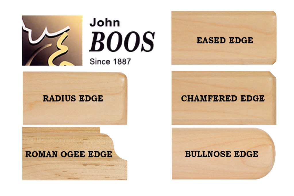 John Boos Countertop Edge Profiles