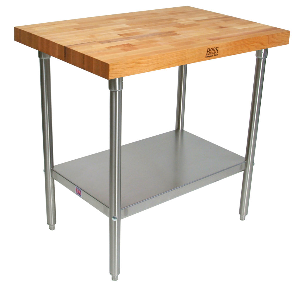 TNS - Boos Wood Top Stainless Steel Work Table