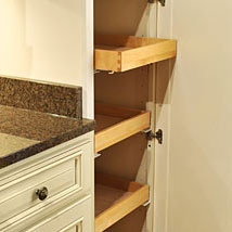 Roll Trays are all wood dovetail drawers with full extension, soft-close under-mount glides.